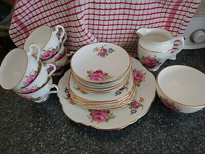 Vintage Clare Bone China 21 Piece Afternoon Tea Service, Pink Floral Design