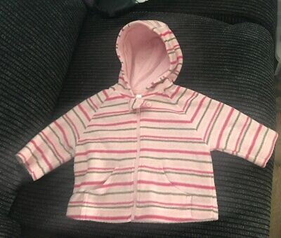 Girls Ladybird Pink Striped Zipped Fleece Age 0-3 Months