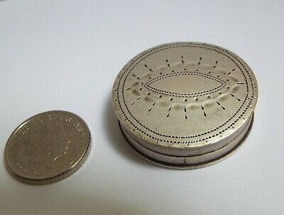 Beautiful Large Rare English Antique Georgian 1791 Sterling Silver Patch Box S P