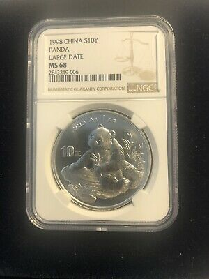 1998 China Panda Large Date 10 Yuan NGC MS68 1 Ounce Silver Coin **