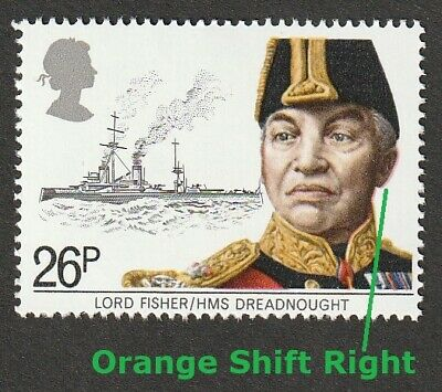 GB QEII ~ 1982 SG 1191 ~ ERROR Orange Shift Right ~ MNH