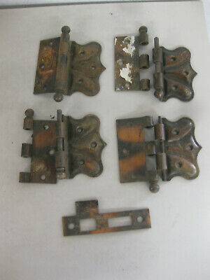 3 Vintage COPPER Black DOOR HINGES Decorative + lock plate