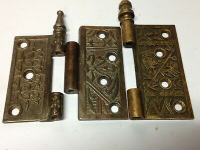 3 Antique Vintage Bronze Cast Iron Butterfly Victorian  Door Hinge Leaf Parts