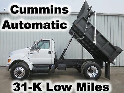 F750 Cummins Automatic 10Ft Dump Bed Body Haul Delivery Truck 31-K Low Miles