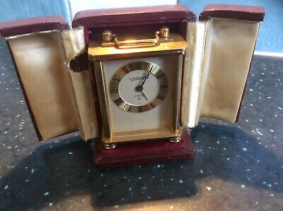 Vintage Looping Carriage Swiss Eight Day Clock Alarm Cased Mechanical