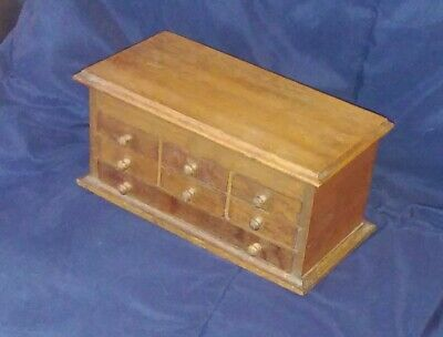 Unusual Miniature Antique Oak Chest Drawers Jeweler Watchmaker Cabinet Rare