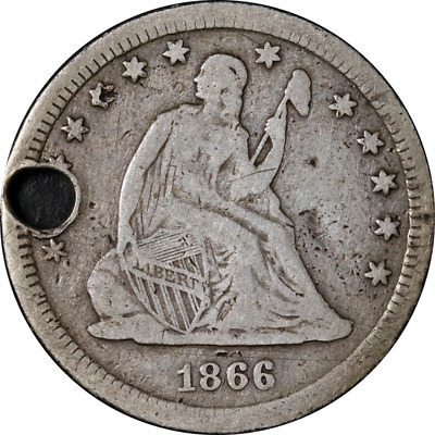 1866-S Seated Liberty Quarter 'Holed' VG/F Details Key Date
