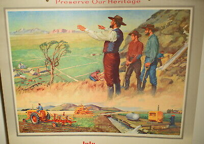 """1956 Minneapolis Moline Tractor Calendar """"Preserve Our Heritage"""" Brigham Young"""