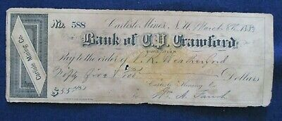 1883 Silver City New Mexico Bank of Crawford Check Carlisle Mines Mining Co