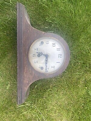 Antique Oak Case Chiming Mantel Clock with Haller movement