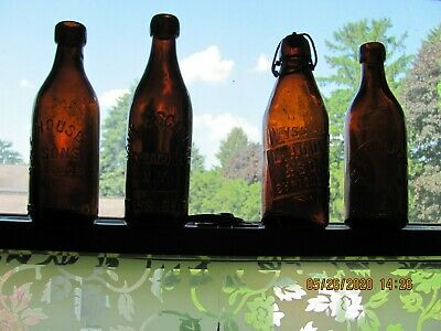 Antique Collection Of Four Syracue, Ny Blob Top (Empty)Beer Bottles