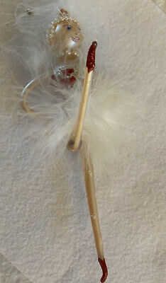 Blown Glass Lady Dancer Ornament Glitter Faux Pearls and Feathers