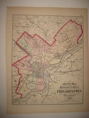 Antique 1872 Philadelphia County City Reading Pennsylvania Dated Handcolored Map