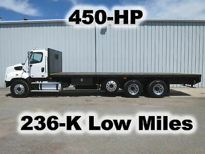 114Sd Dd13 450-Hp Tandem 28Ft Flatbed Lift Axle Delivery Haul Truck 236-K Mi