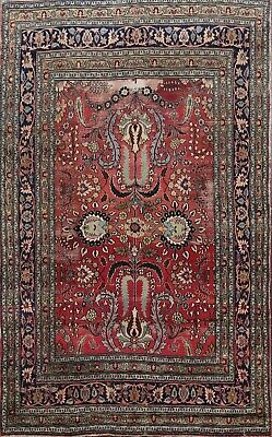 Pre-1900 Antique Red Floral Dorokhsh Collectible Area Rug Vegetable Dye Wool 6x9
