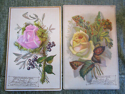 2 Antique Tansill's Punch Cigar Victorian Trade Card Rose & flowers lot S