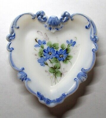 Vintage Handpainted White Milk Glass Heart Shaped Dish With Blue Flowers
