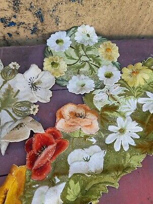 vintage old hand embroidery table centre coasters dragonflys and flowers