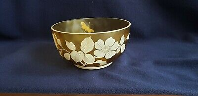 Amber Florentine Art Glass Bowl, Thumbprint Crystal, Flowers and Dragonfly