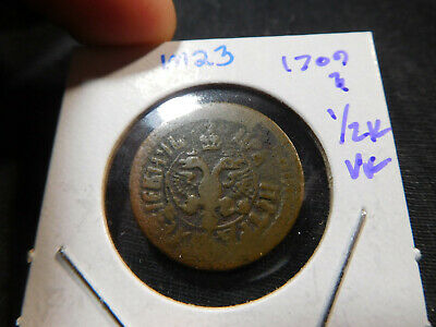 M23 Russian Empire 1709? 1/2 Kopek VF