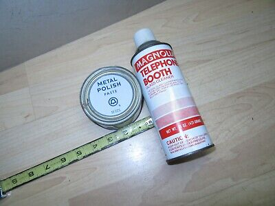 Vintage Bell System Metal polish Paste tin & Telephone Booth spray cleaner