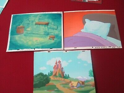 Hanna Barbera Smurfs production vintage cel Background lot of 3 backgrounds