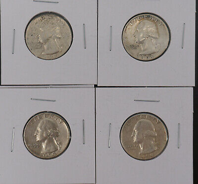 1959P and 1959-D Washington Quarter Lot of 4 .9 Silver Coins