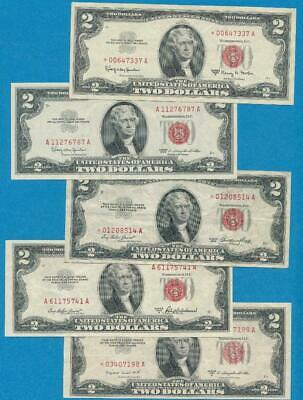 5-$2.00 1953/1963 Series Star Red Seal United States Notes