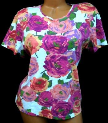 Croft & barrow abstract roses print crew neck short sleeve plus size top 1X