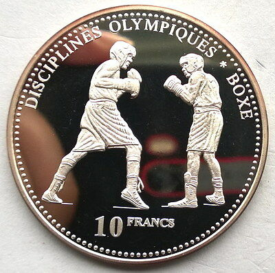 Congo 2000 Boxers 10 Francs Silver Coin,Proof