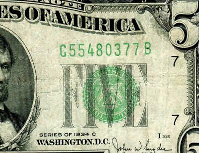 $5 1934 C  Federal Reserve Note (( Green Seal )) More Currency for Auction