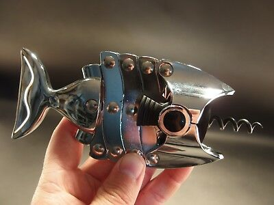 Antique Vintage Style Fish Shaped Wine Bottle Corkscrew Opener