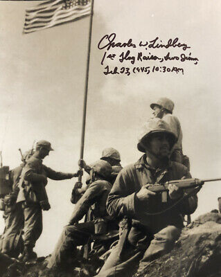 Charles Lindberg AUTHENTIC HAND SIGNED 8x10 Photo WWII Iwo Jima Flag Raising
