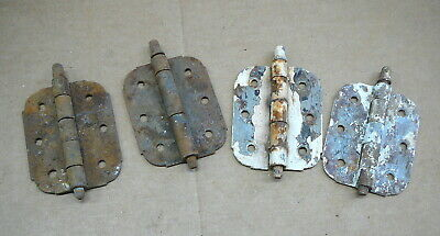 SET of 4 - OLD USED FLAT SCREEN DOOR HINGES - NO SPRING - RUSTY & CHIPPY PAINT
