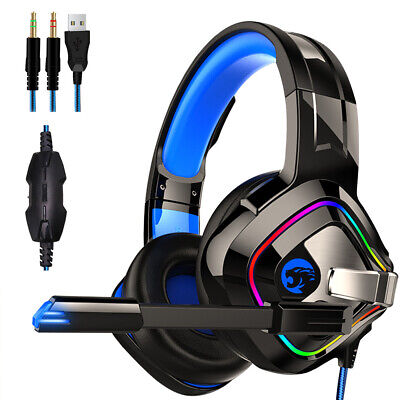 4D Surround Stereo HD Mic Gaming Headset For Nintendo Switch, PS4 Xbox One & PC