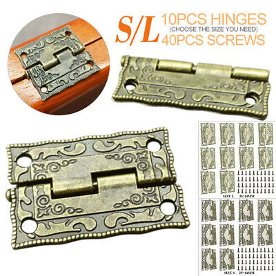 10pcs Vintage Antique Brass Hinge Screw Wooden Furniture Jewelry Case Box AU!