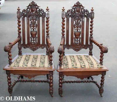 Pair of Large Victorian Throne / Ceremonial Chairs - Oak - Barley Twist - Carved