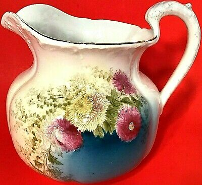 """Antique Bayreuth Pitcher Hand Painted Teal Fuscia Gold Trim Tettau Germany 8"""""""
