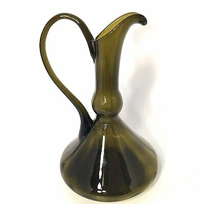 """Empoli Italy Pitcher. Art Glass 11"""" 1960'S Green Hand Crafted Vintage"""