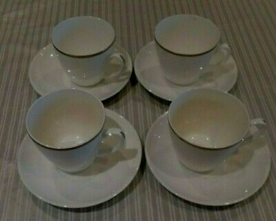 4 Rare  Sutherland 1976 White Gilt Trim Cups And Saucers