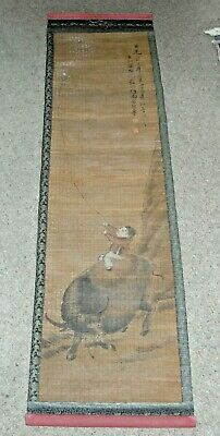 Large Old Chinese Painted Bamboo Hanging Scroll - Boy on Buffalo with Kite