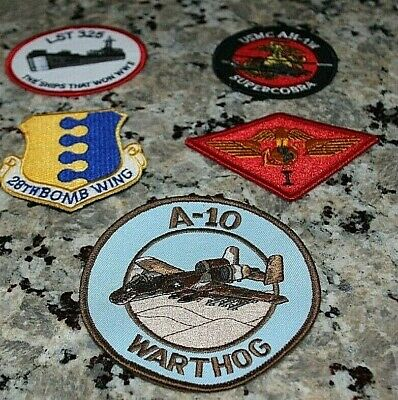 Lot of 5 MILITARY PATCHES A-10 Warthog USMC Super Cobra 28th Bomb Wing LST 325