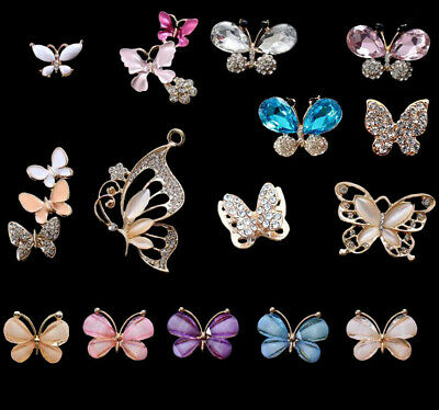 2Pcs Assorted Flatback Rhinestones Crystals Butterfly for Crafts Embellishments