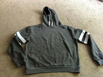 New Look Dark grey hoodie with white trims on the sleeves aged 14-15 years