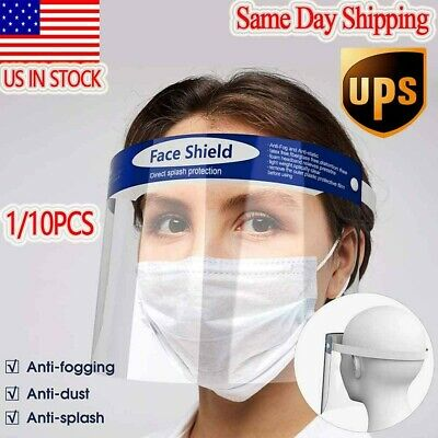 1/10PCS Protective Full Face Safety Isolation Visor Eye Face Protector Shield