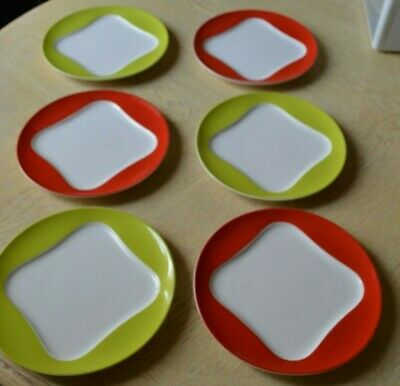"Villeroy & Boch Set Of 6 Vivo ROUND KIWI & CHERRY PLATES Salad Luncheon 9"" #1229"