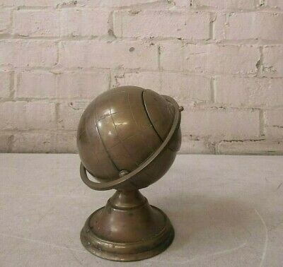 Vintage Cast Brass Globe Paper Weight  ~w/ Nice Patina