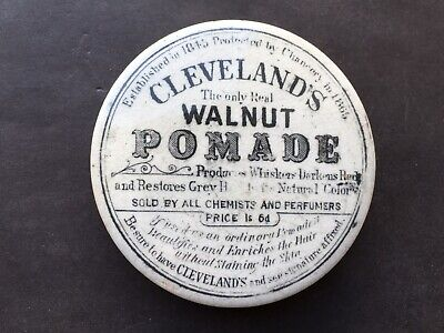 C1900 VINTAGE CLEVELAND'S THE ONLY REAL WALNUT POMADE 1s 6d POT LID