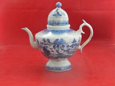 Antique Chinese Canton Export Domed Top Teapot. Blue House & Sampan.