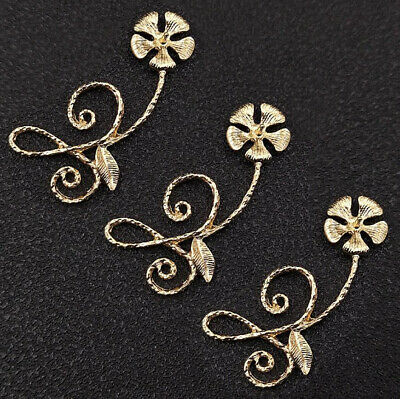 10Pcs Golden Alloy Morning Glory Flowers Buttons for DIY Decorations Material